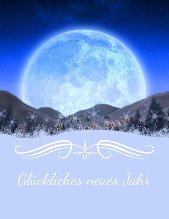 border against christmas village under full moon