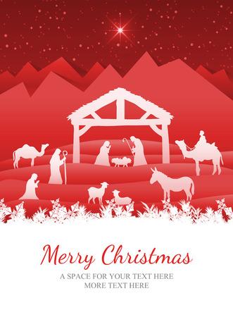 pesebre: Feliz Navidad en contra de la natividad del vector escena bajo el cielo estrellado Foto de archivo