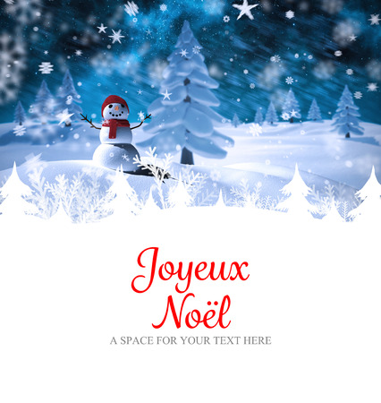 star border: Joyeux noel against snow man Stock Photo