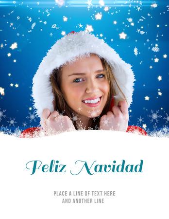 pere noel sexy: Sexy Santa fille souriante � la cam�ra contre Feliz Navidad