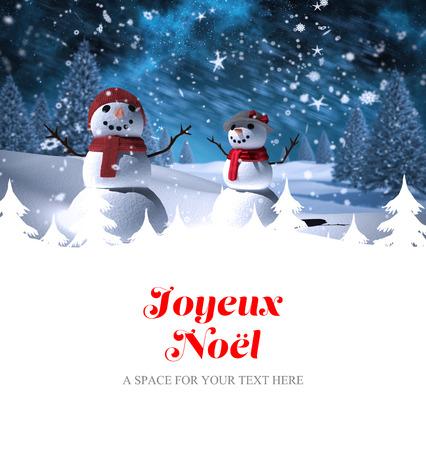 joyeux: Joyeux noel against snowman family