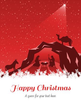 boldog karácsonyt: Happy Christmas against nativity scene vector under starry sky Stock fotó
