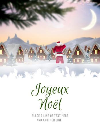 joyeux: Santa delivery presents to village against joyeux noel
