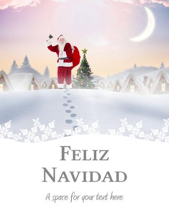 feliz: Santa delivery presents to village against feliz navidad