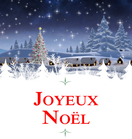 Christmas greeting card against snow covered village