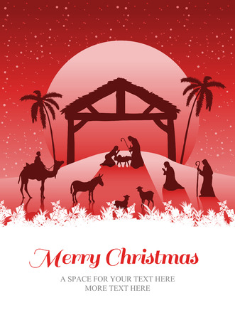 pesebre: Feliz Navidad contra natividad vector escena bajo el cielo estrellado