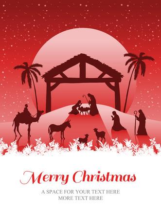 nativity: Merry christmas against nativity scene vector under starry sky