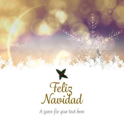 feliz: Feliz navidad against snowy landscape with fir trees Stock Photo