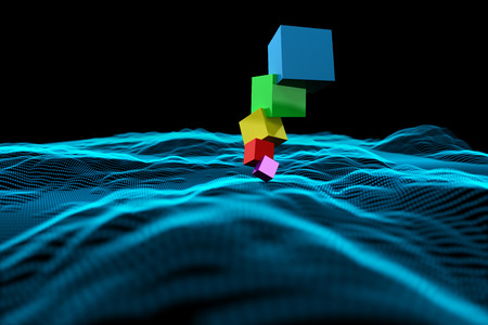 balancing act: Pile of 3d colourful cubes against abstract glowing black background