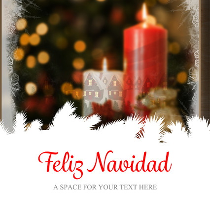 holiday message: Feliz navidad against christmas home seen through frosty window