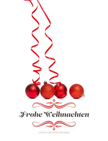 red christmas ball: border against four red christmas ball decorations Stock Photo
