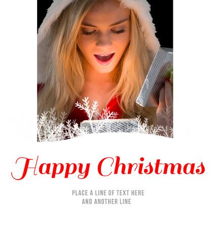 pere noel sexy: Jolie blonde � santa cadeau d'ouverture tenue contre no�l heureux