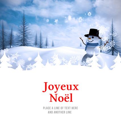 joyeux: Joyeux noel against snow man Stock Photo