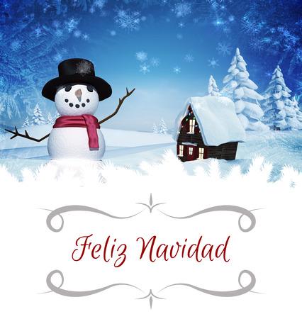 christmas house: border against christmas house with snow man
