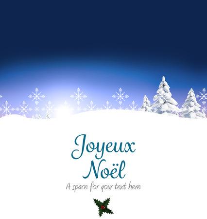 joyeux: Joyeux noel against snowy landscape with fir trees Stock Photo