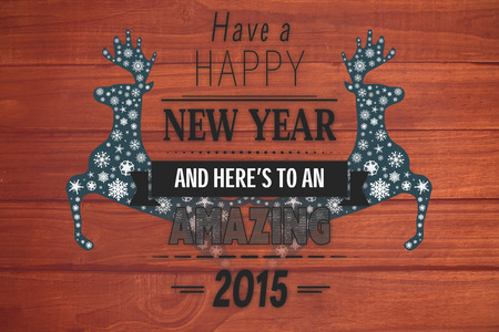 floorboard: Happy new year message against overhead of wooden planks