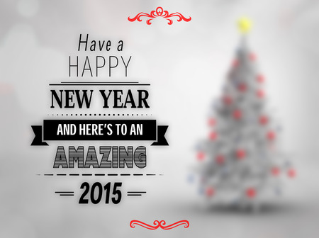 christmas room: Happy new year message against blurry christmas tree in room Stock Photo