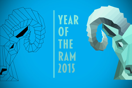 rams: Half rams head against blue background with vignette