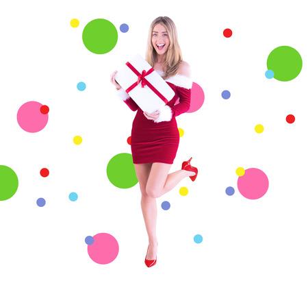 pere noel sexy: Jolie Santa Girl souriant � la cam�ra contre motif de points