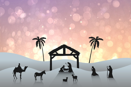 tableau: Nativity scene against pink abstract light spot design Stock Photo
