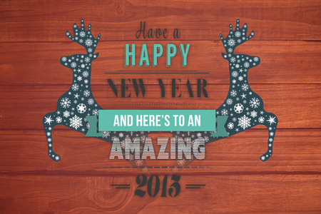 overhead: Happy new year message against overhead of wooden planks
