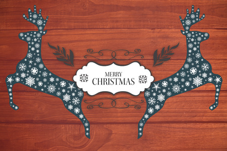 overhead: Merry christmas message against overhead of wooden planks