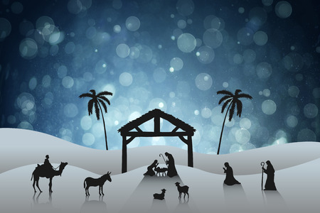 tableau: Nativity scene against blue abstract light spot design