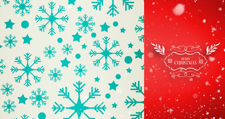 neige qui tombe: Snow falling against snowflake pattern
