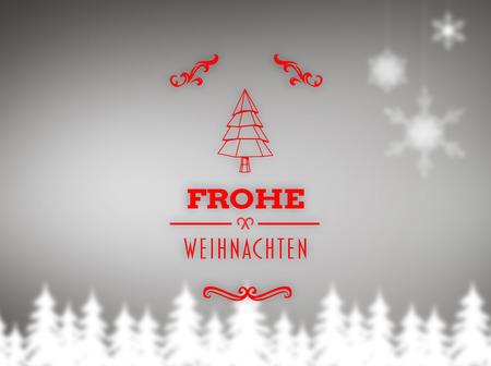 weihnachten: Frohe weihnachten banner against blurred fir tree background