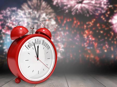 nuevo: Feliz ano nuevo in red alarm clock against wooden planks Stock Photo