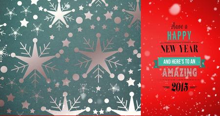 snow falling: Snow falling against snowflake wallpaper pattern