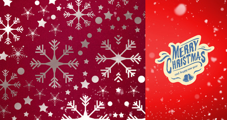 snow falling: Snow falling against snowflake wallpaper pattern