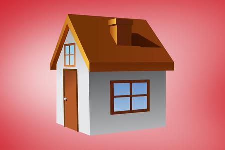 vignette: House against red vignette