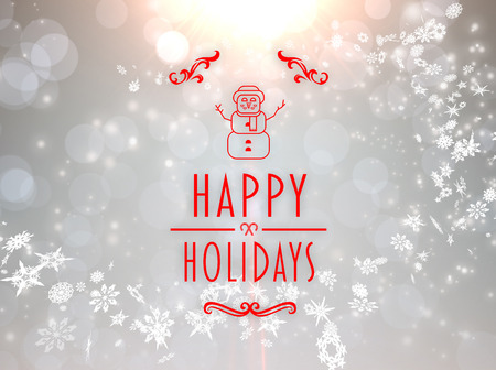happy holidays: Happy holidays banner against grey design with white snowflakes