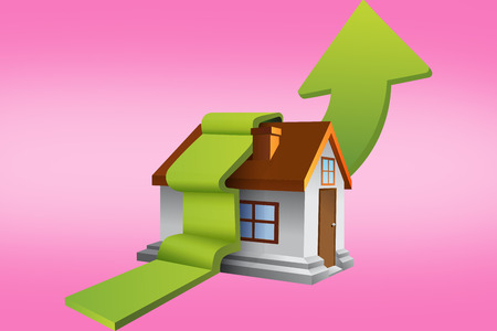 green arrow: House with green arrow against pink Stock Photo