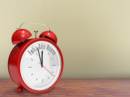 nuevo: Feliz ano nuevo in red alarm clock against room with wooden floor