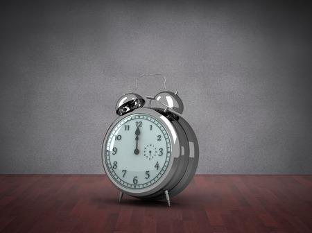 floorboards: Alarm clock counting down to twelve against dark room with floorboards