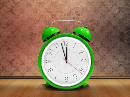 grimy: Alarm clock counting down to twelve against grimy room
