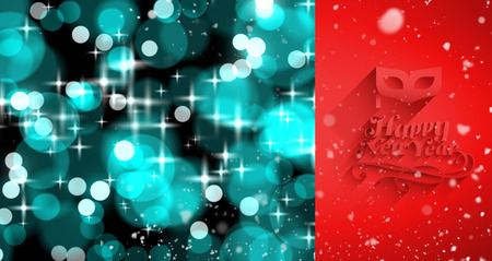 twinkling: Snow falling against digitally generated twinkling light design