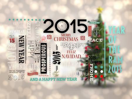 revoltijo: Vacaciones palabra revoltijo contra borrosa �rbol de navidad de fondo Foto de archivo