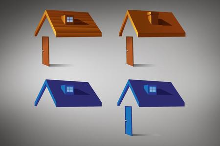 vignette: House structures against grey vignette