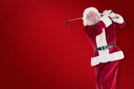 christmas golf: Santa playing golf against red background