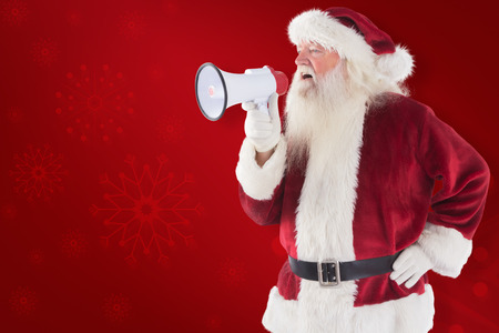 lean back: Santa Claus is using a megaphone against red background