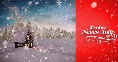 snow falling: Snow falling against christmas house Stock Photo