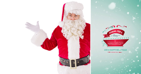 perplexed: Portrait of perplexed santa against green vignette Stock Photo
