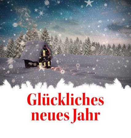 neues: Glückliches neues jahr against christmas house Stock Photo