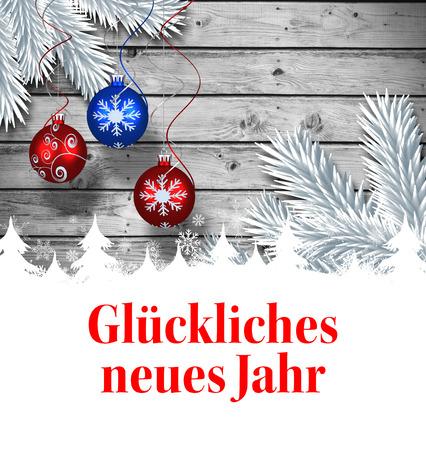 neues: Glückliches neues jahr against christmas baubles hanging over wood