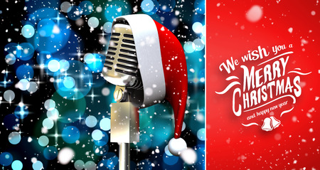 snow falling: Snow falling against microphone with santa hat