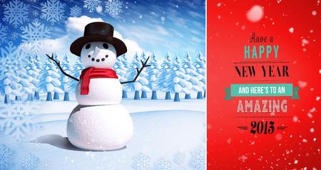 snow man: Snow falling against snow man