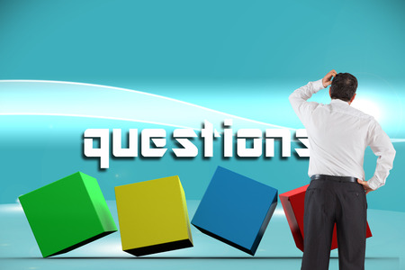 considering: The word questions and mature businessman looking and considering against futuristic bright blue background
